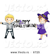 "Cartoon Vector of Skeleton and Witch Kids Holding a ""Happy Halloween"" Sign by BNP Design Studio"