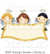 Cartoon Vector of Smiling Angels Holding Blank Banner by BNP Design Studio