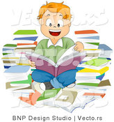 Cartoon Vector of Smiling School Boy Reading Book Within a Pile Books by BNP Design Studio