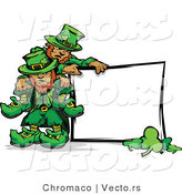 Cartoon Vector of St. Patrick's Day Leprechauns Standing Beside Blank Sign with Shamrocks by Chromaco