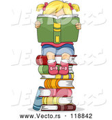 Cartoon Vector of Stack of Books by BNP Design Studio