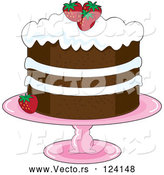 Cartoon Vector of Strawberry Shortcake with Whipped Cream Icing and Garnished with Fresh Strawberries by Maria Bell