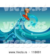 Cartoon Vector of Surfer Boy Riding a Wave 2 by Graphics RF