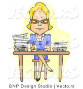 Cartoon Vector of Teacher Sitting at Desk with Legs Crossed While Grading Tests by BNP Design Studio
