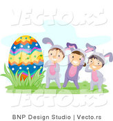 Cartoon Vector of Three Happy Kids in Bunny Costumes Beside a Giant Egg by BNP Design Studio