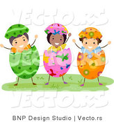 Cartoon Vector of Three Kids Wearing Easter Egg by BNP Design Studio