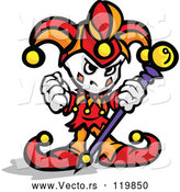 Cartoon Vector of Tough Little Jester Holding a Fist and Staff by Chromaco