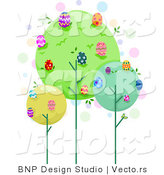 Cartoon Vector of Trees Full of Easter Eggs by BNP Design Studio