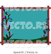 Cartoon Vector of Turquoise Colored Frame with Tribal Flowers by Bpearth