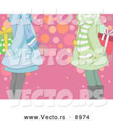 Cartoon Vector of Two Girls Exchanging Presents on Christmas by BNP Design Studio