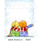 Cartoon Vector of Two Girls Looking at Snow Border Background by BNP Design Studio
