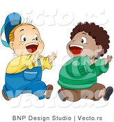 Cartoon Vector of Two Happy Boys Playing Tag - They Are Running After Each Other by BNP Design Studio