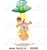 Cartoon Vector of UFO Alien Abducting Santa by Zooco