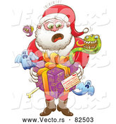 Cartoon Vector of Unsure Santa Delivering Spooky Creepy Gift by Zooco