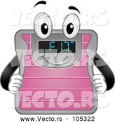 Cartoon Vector of Weight Scale Mascot Showing Fit on the Screen by BNP Design Studio