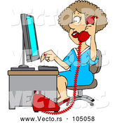 Cartoon Vector of White Female Secretary Taking a Phone Call by Djart