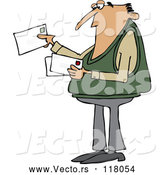 Cartoon Vector of White Man Looking at Letter Mail Envelopes by Djart