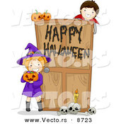 Cartoon Vector of Witch and Vampire Kids at a Happy Halloween Haunted House Door by BNP Design Studio