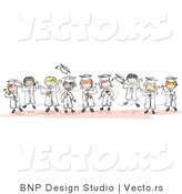 Cartoon Vector of Young Happy Graduates Standing in Horizontal Line by BNP Design Studio