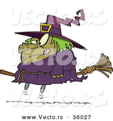 Halloween Cartoon Vector of a Obese Witch Riding Broomstick by Toonaday