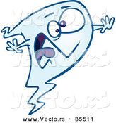 Halloween Cartoon Vector of a Scared Ghost Screaming by Toonaday