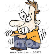 Halloween Cartoon Vector of a Scared Man Shaking with Arms Crossed and Teeth Clenched by Toonaday