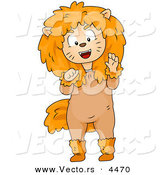 Halloween Vector of a Cartoon Boy Wearing Lion Costume While Growling and Clawing with His Hands by BNP Design Studio