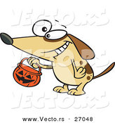 Halloween Vector of a Cartoon Dog Trick-Or-Treating with Pumpkin Bucket by Toonaday