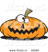 Halloween Vector of a Cartoon Jackolantern Pumpkin Smiling with Criss Crossed Eyes by Toonaday