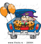 Halloween Vector of a Cartoon Trick-or-Treater Riding in the Trunk of a Car with Full Bucket of Candy by Toonaday