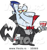 Halloween Vector of a Suave Cartoon Vampire Holding Wine Glass Full of Blood by Toonaday