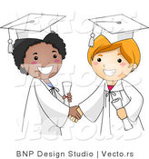 Vector Cartoon of 2 Happy Graduates Shaking Hands by BNP Design Studio
