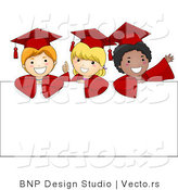 Vector Cartoon of 3 Graduate Kids Standing Behind a Blank Sign by BNP Design Studio