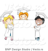 Vector Cartoon of 3 Young Graduates Standing Around a Blank Sign by BNP Design Studio