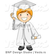 Vector Cartoon of Graduate Boy Smiling While Touching His Tassel by BNP Design Studio