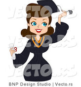 Vector Cartoon of Graduate Pinup Girl Grabbing Her Tassel While Smiling by BNP Design Studio