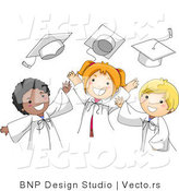 Vector Cartoon of Graduates Happily Tossing Their Caps into the Air by BNP Design Studio