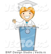 Vector Cartoon of Graduating Boy Giving a Speech by BNP Design Studio