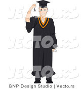 Vector Cartoon of Graduating Teen Moving Tassel from His Face by BNP Design Studio