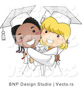 Vector Cartoon of Happy Black and White Graduate Girls Hugging by BNP Design Studio