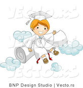Vector Cartoon of Happy Graduate Boy Sitting on a Diploma and Clouds by BNP Design Studio