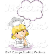Vector Cartoon of Happy Graduate Girl Below Thinking Cloud by BNP Design Studio