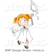 Vector Cartoon of Happy Graduate Girl Tossing Her Cap by BNP Design Studio
