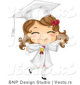 Vector Cartoon of Happy Graduate Girl Walking Forward with Big Smile on Her Face by BNP Design Studio