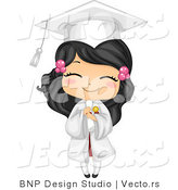 Vector Cartoon of Happy Graduating Girl Holding Her Diploma and Smiling by BNP Design Studio