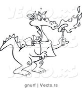 Vector Line Drawing of a Dragon Chef Blowing Flames on a Hot Dog by Gnurf