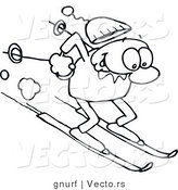 Vector Line Drawing of a Happy Man Winter Skiing down a Steep Slope by Gnurf