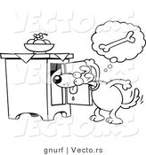Vector Line Drawing of a Hungry Cartoon Dog Searching for a Doggy Bone Treat by Gnurf