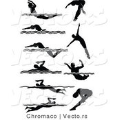 Vector of 10 Unique Male Swimmers - Silhouette by Chromaco