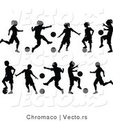 Vector of 10 Unique Silhouetted Boys and Girls Playing Soccer Ball by Chromaco